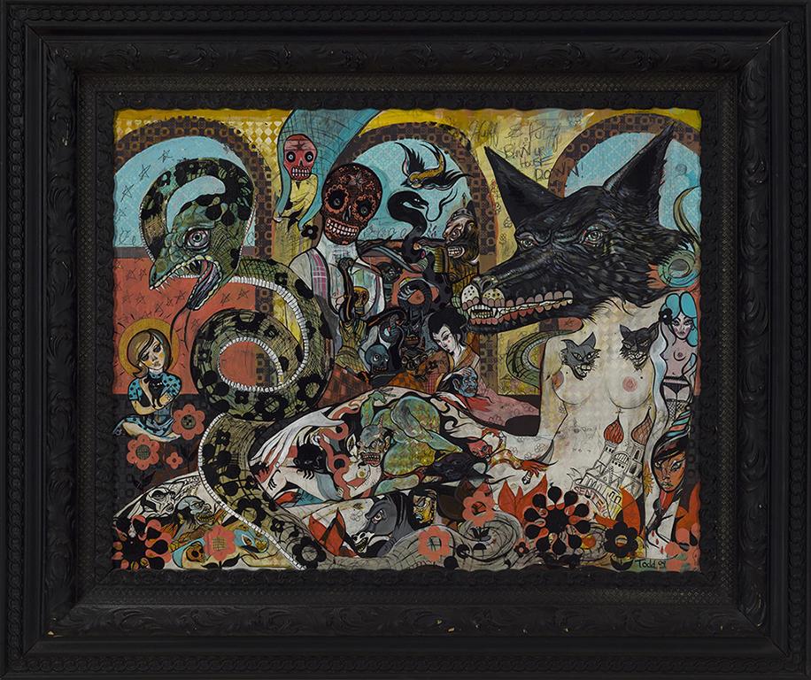 02.John Todd «Wolf noir» (2009) acrylique sur bois (58cm x 73cm)