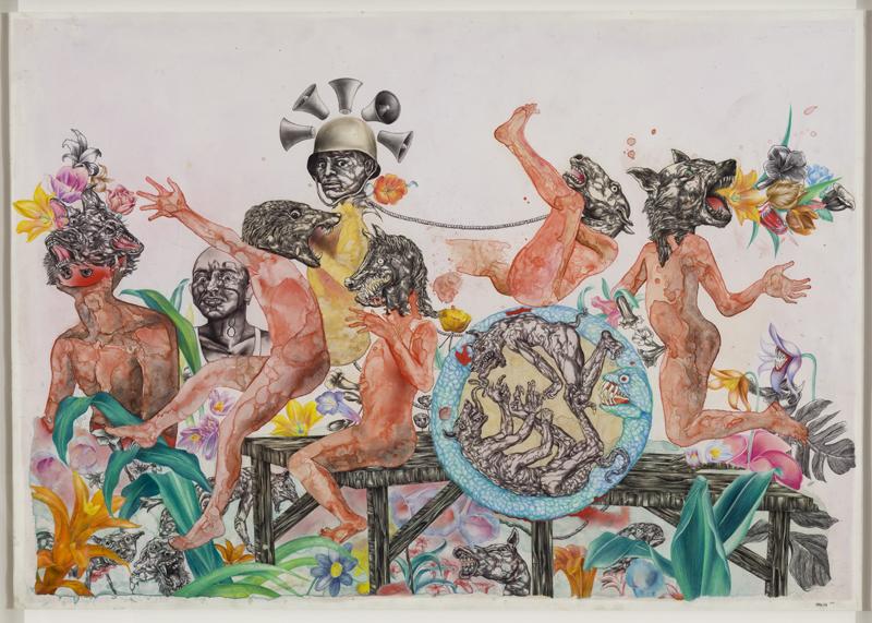 05.Osvaldo Ramirez-Castillo «Primavera» (2011) technique mixte sur papier (64cm x 90cm)