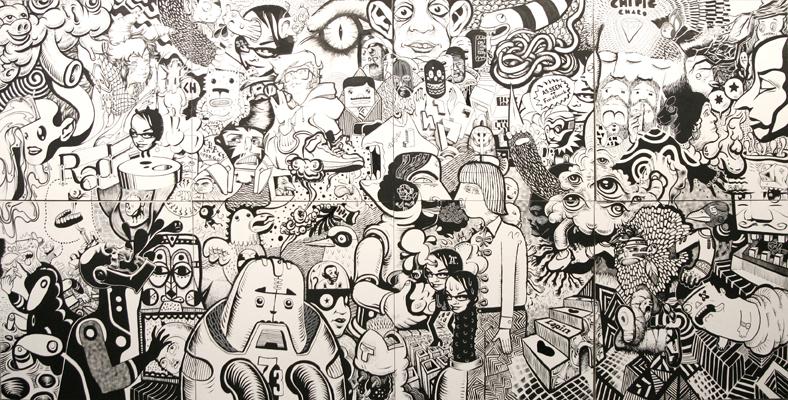 10.En Masse «Dice show» (2010) acrylique sur bois (détail 122cm x 244cm)