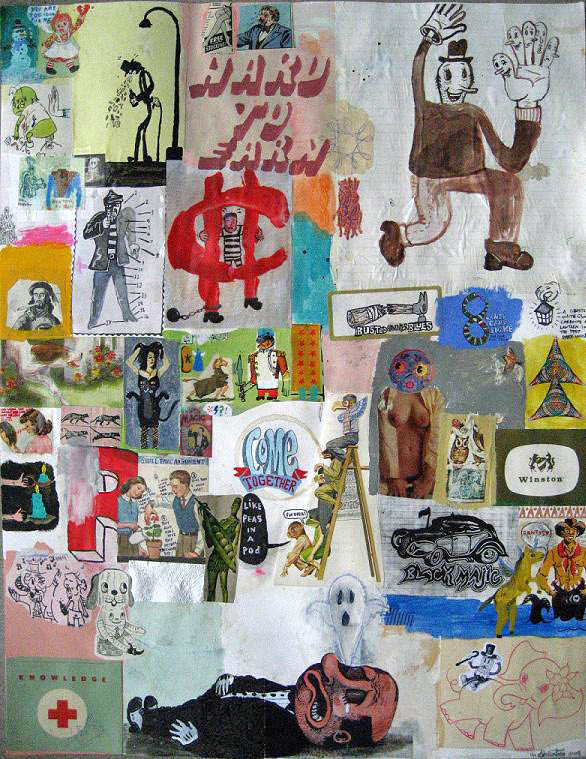 Shaun Morin dit The Slomotion «Hard to earn» (2007) collage sur papier (61cm x 48cm)
